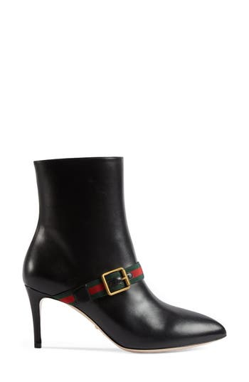 Gucci Sylvie Strap Ankle Boot, Black