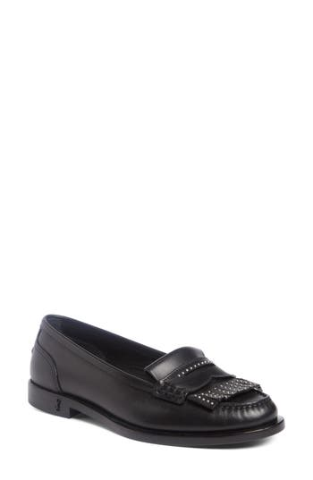 Saint Laurent Universite Fringe Mocassin, Black