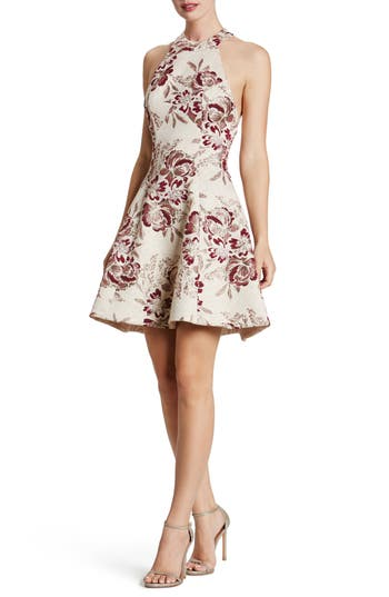 Dress The Population Hannah Fit & Flare Dress, Burgundy