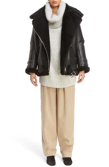 Acne Studios Velocite Genuine Shearling Oversize Moto Jacket, Black