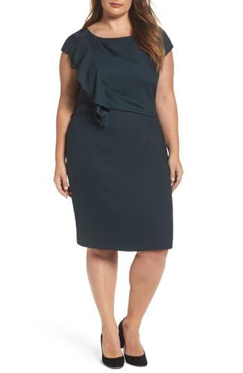 Plus Size Eliza J Ruffle Crepe Sheath Dress
