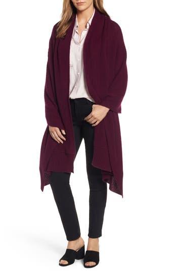 Women's Halogen Cardigan Stitch Cashmere Wrap, Size One Size - Purple