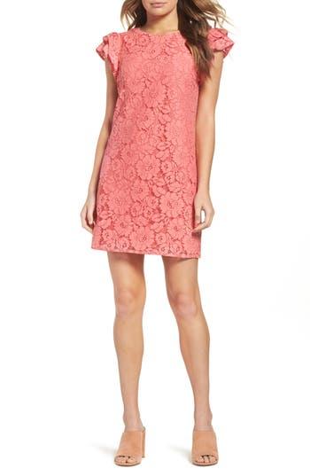Women's Charles Henry Ruffle Shift Dress, Size X-Large - Pink