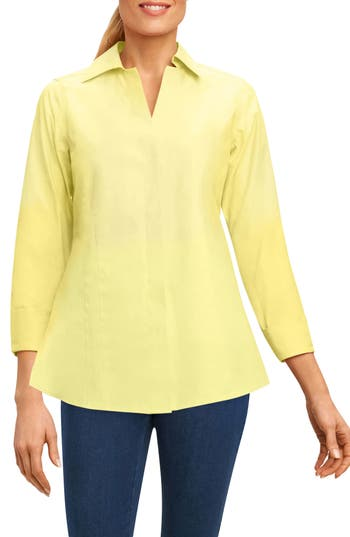 Foxcroft Fitted Non-Iron Shirt, Yellow
