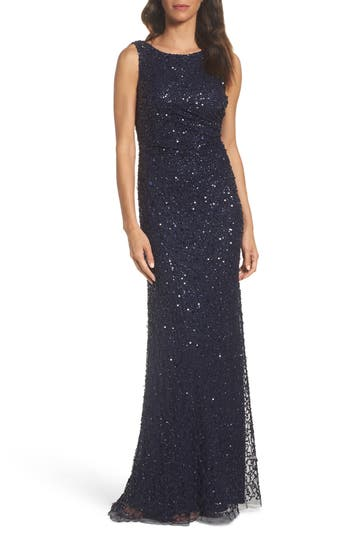 Adrianna Papell Drape Back Gown, Blue