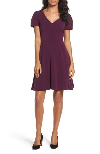 Women's Tahari Crepe Fit & Flare Dress, Size 4 - Red