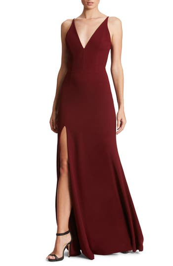 Dress The Population Iris Slit Crepe Gown, Burgundy