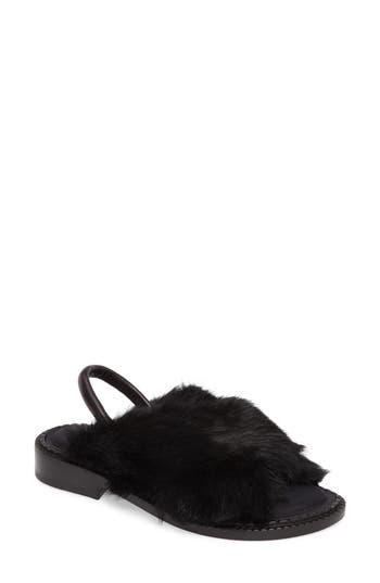 Robert Clergerie Bloss Genuine Fur Sandal - Black