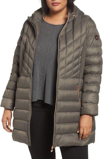 Plus Size Bernardo Hooded Packable Down & Primaloft Coat, Brown