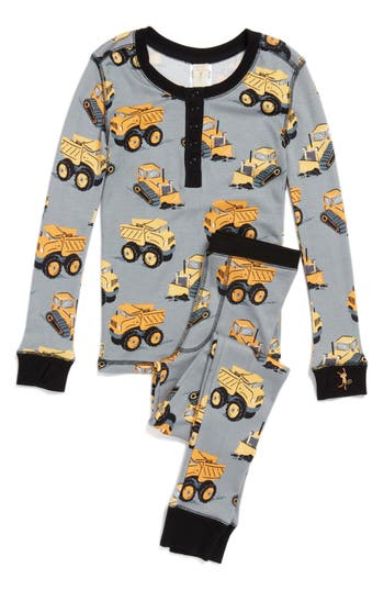 Boy's Munki Munki Construction Trucks Fitted Two-Piece Pajamas