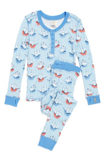 Boy's Munki Munki Pirate Ships Fitted Two-Piece Pajamas
