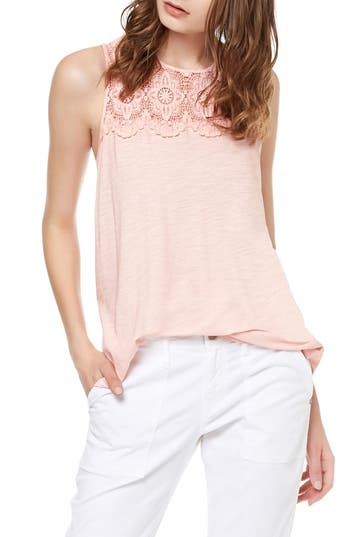 Women's Sanctuary Estee Crochet Yoke Tank, Size X-Small - Pink