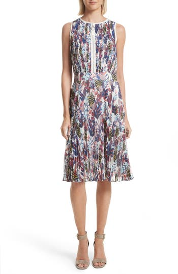 Grey Jason Wu Print Pleated Chiffon Dress, Ivory