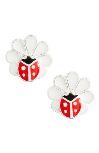 Girl's Tomas Ladybug Flower Sterling Silver Earrings