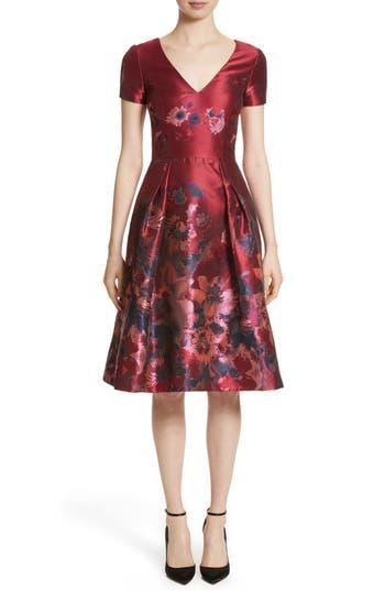 Carolina Herrera Floral Brocade Fit & Flare Dress, Red