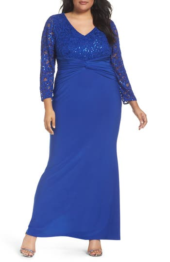 Plus Size Marina Sequin Lace & Jersey Mermaid Gown, Blue