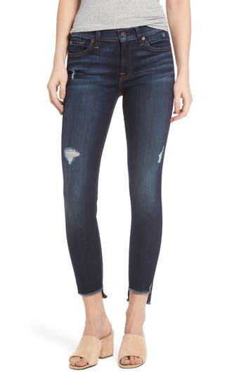 7 For All Mankind Step Hem Ankle Skinny Jeans, Blue
