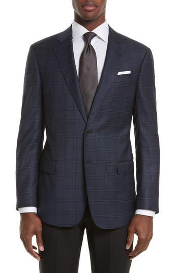 Armani Collezioni Trim Fit Plaid Wool Sport Coat, Blue