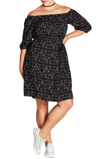Plus Size City Chic Floral Print Off The Shoulder Dress, Black