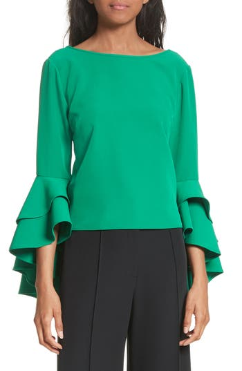 Women's Milly Annie Cascade Sleeve Stretch Cady Top, Size 0 - Green