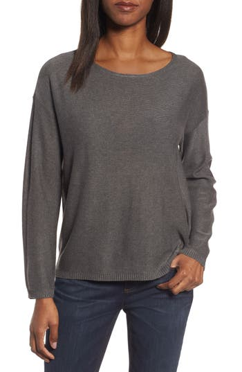 Eileen Fisher Tencel & Wool Boxy Sweater, Brown