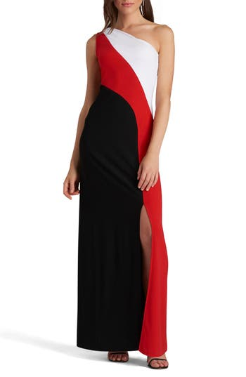Eci One-Shoulder Colorblock Maxi Dress, Red