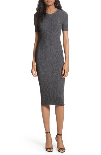 Milly Stardust Rib Knit Sheath Dress, Size Petite - Grey