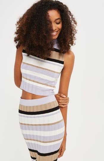 Women's Topshop Crop Stripe Sweater Tank, Size 4 US (fits like 0-2) - Black