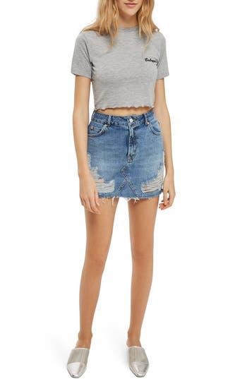Topshop Rip Denim Miniskirt, US (fits like 10-12) - Blue