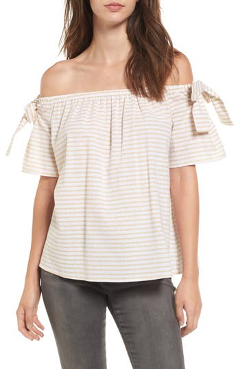 Women's Soprano Stripe Cotton & Linen Off The Shoulder Top, Size X-Small - Yellow
