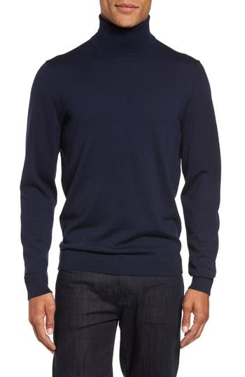 Big & Tall Nordstrom Shop Merino Wool Turtleneck Sweater, Blue