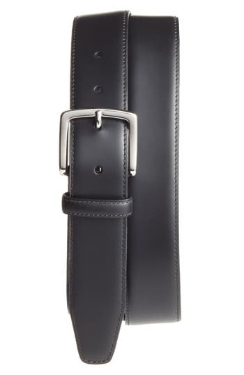 Monte Rosso Nero Leather Dress Belt, Black