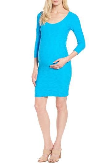 Tees By Tina Crinkle Maternity Sheath Dress, Size One Size - Blue/green
