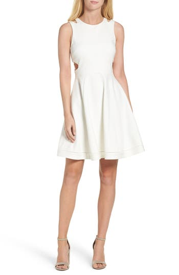 French Connection Lula Stretch Fit & Flare Dress, White