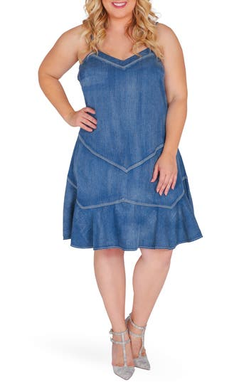 Plus Size Standards & Practices Rosie Denim Tank Dress, Blue