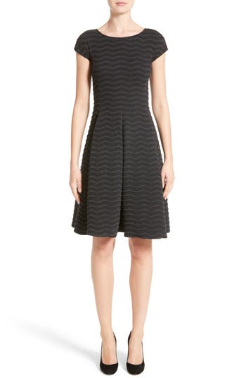 Armani Collezioni Embossed Jacquard Jersey A-Line Dress, Grey