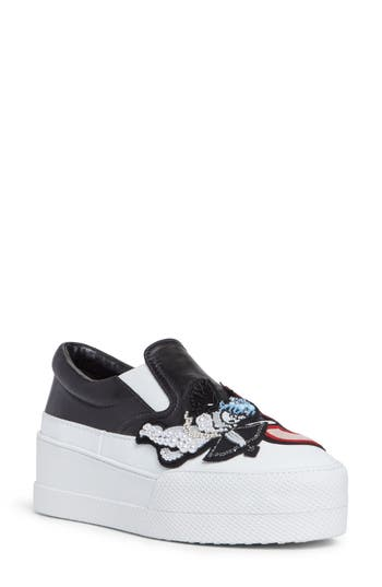 Miu Miu Flatform Slip-On Sneaker, Black