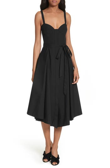 Milly Poplin Bustier Midi Dress, Black