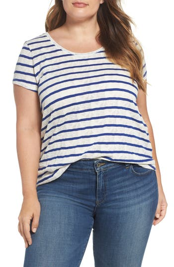 Plus Size Lucky Brand Stripe Jacquard Tee, Blue