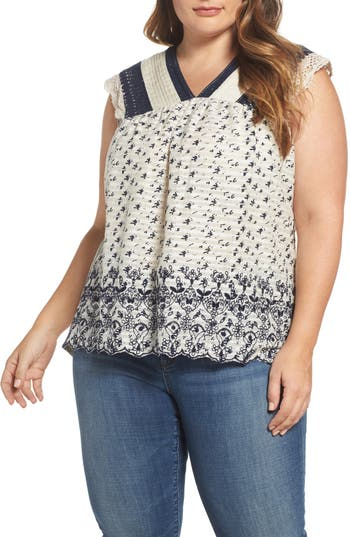 Plus Size Lucky Brand Embroidered Print Flutter Top, Blue