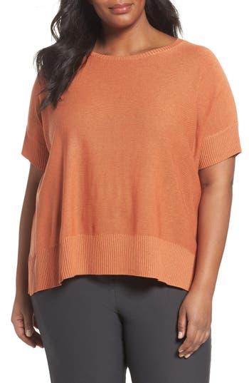 Plus Size Eileen Fisher Tencel & Merino Wool Top, Orange