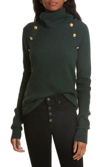 Veronica Beard Pearson Button Detail Merino Wool Sweater, Green