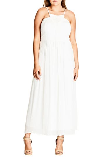 Plus Size City Chic Purity Halter Style Maxi Dress, Ivory