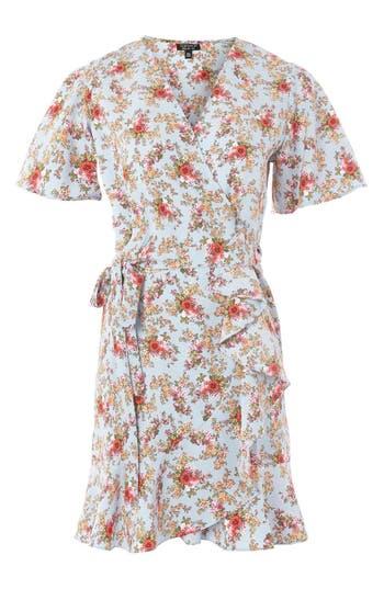 Women's Topshop Confetti Floral Wrap Tea Dress, Size 6 US (fits like 2-4) - Blue