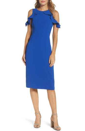 Maggy London Cold Shoulder Sheath Dress, Blue