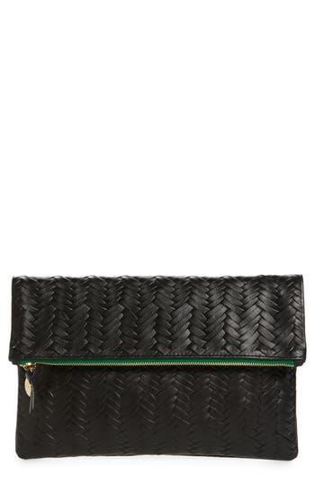 Clare V. Woven Leather Clutch - Black