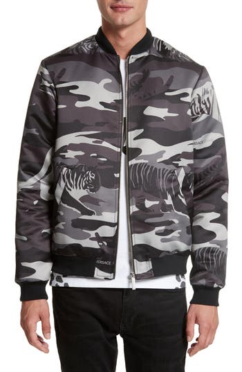 Versace Jeans Camo Tiger Bomber Jacket, Grey