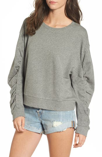 Bp. Ruched Sleeve Sweatshirt, Grey