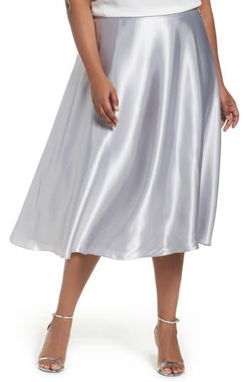 Plus Size Alex Evenings Full Charmeuse Tea-Length Skirt, Grey