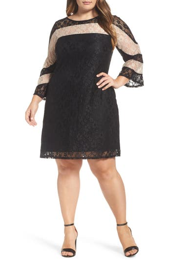 Plus Size Gabby Skye Stripe Colorblock Lace Dress